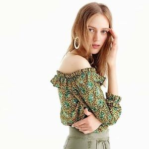 J CREW Off The Shoulder Top Ratti Elephant Print